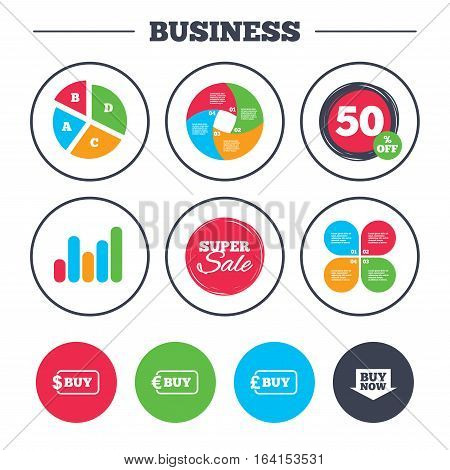 Business pie chart. Growth graph. Buy now arrow icon. Online shopping signs. Dollar, euro and pound money currency symbols. Super sale and discount buttons. Vector