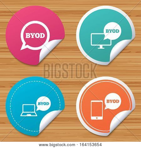 Round stickers or website banners. BYOD icons. Notebook and smartphone signs. Speech bubble symbol. Circle badges with bended corner. Vector