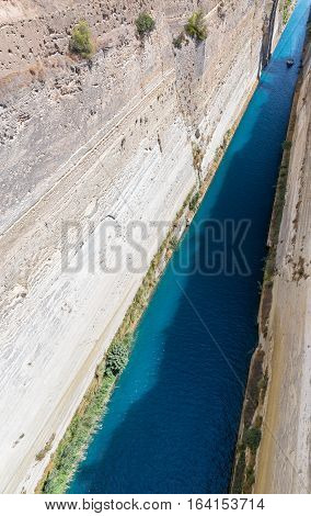 The Corinth Canal in Greece at summer