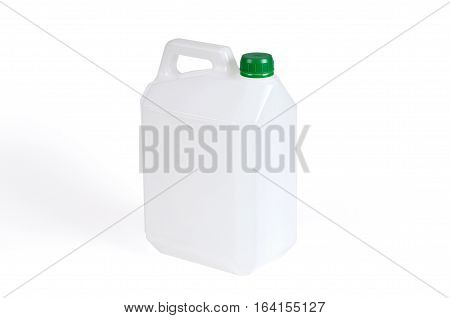 White plastic jerrycan with green cap on white background.