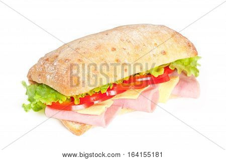 Tomato salami and pepper panini isolated on white