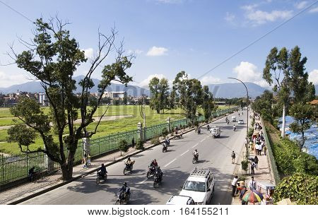 KATHMANDU,  NEPAL - OCTONER 01, 2008: Sustainable Urban Transport Management Project supported by the Asian Development Bank (ADB) is being launched from August in a bid to manage the city's haphazard traffic by the end of 2014