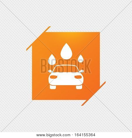 Car wash icon. Automated teller carwash symbol. Water drops signs. Orange square label on pattern. Vector