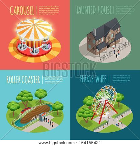 Amusement park concept icons set with haunted house and carousel symbols isometric isolated vector illustration