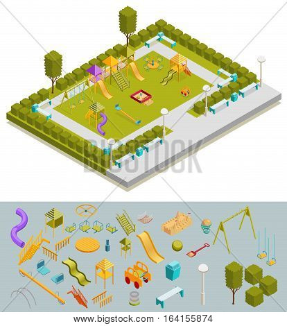 Colored 3d isometric playground composition with ready layout a landscaped playground and isolated elements at the bottom vector illustration