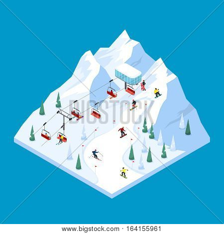Ski lift isometric tiled landscape design with scaled down snowy mountain piste with pennants and skiers vector illustration