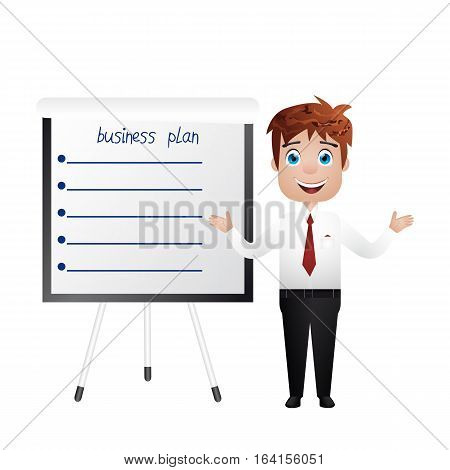 Businessman Near The Chart Board. Indicates. Explains. Conducts Successful Lecture Guy. For Your Des