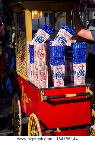 Popcorn stand and boxes in Buenos Aires