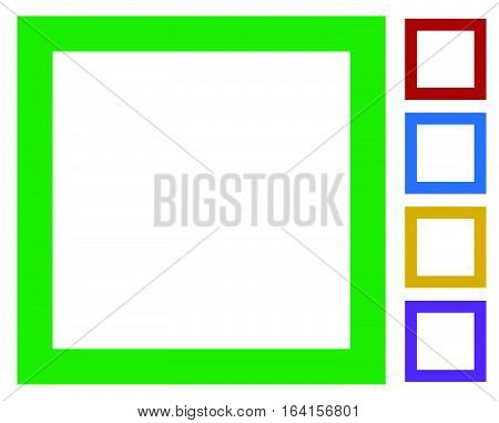 Simple, Basic Frame / Border Icons Isolated On White In 5 Color