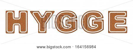 Word HYGGE made of cookies. Pleasure and comfort symbol. Vector Illustration isolated on white background.
