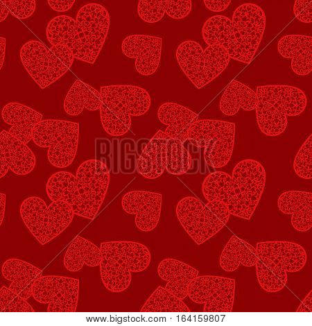 Valentine's day seamless pattern with lace hearts. Valentines day background for invitation. Endless texture can be used for printing onto fabric paper or scrapbooking.