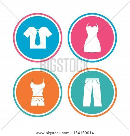 Clothes icons. T-shirt with business tie and pants signs. Women dress symbol. Colored circle buttons. Vector