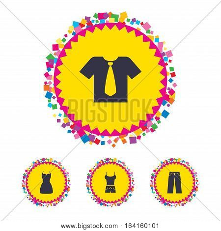 Web buttons with confetti pieces. Clothes icons. T-shirt with business tie and pants signs. Women dress symbol. Bright stylish design. Vector