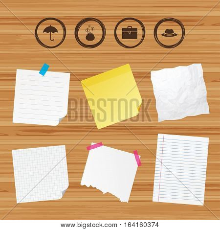 Business paper banners with notes. Clothing accessories icons. Umbrella and headdress hat signs. Wallet with cash coins, business case symbols. Sticky colorful tape. Vector