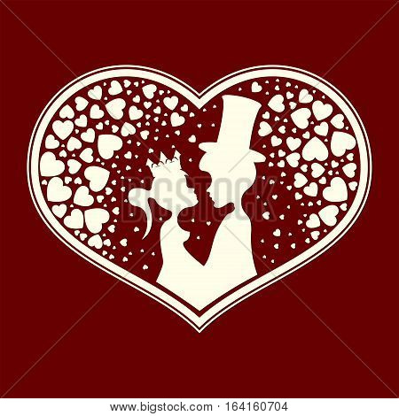 Design of silhouettes of hearts, of lovers fairytale Prince and Princess looking at each other