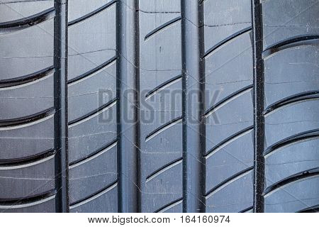 Close-up of surface of brand new summer tire