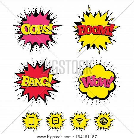 Comic Boom, Wow, Oops sound effects. Communication icons. Smartphone and chat speech bubble symbols. Wifi and internet globe signs. Speech bubbles in pop art. Vector