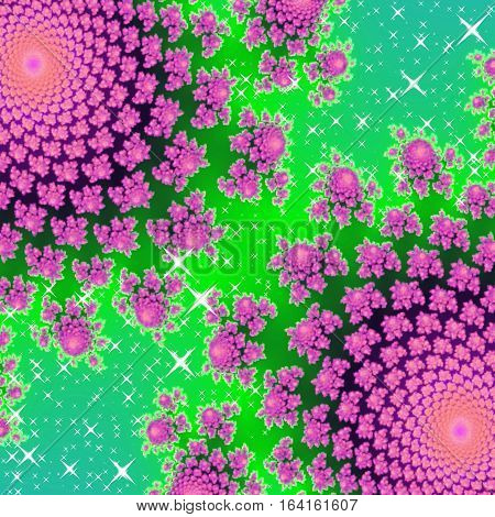 Sparkling bright pink and green design like for princess