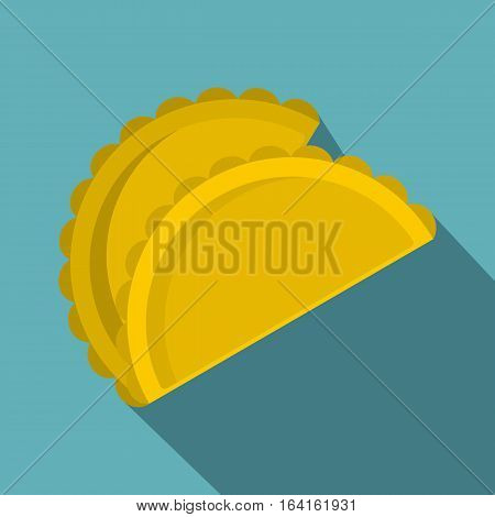 Two empanadas icon. Flat illustration of two empanadas vector icon for web isolated on baby blue background