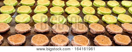 Candy reckless green and chocolate on pan in Thailand