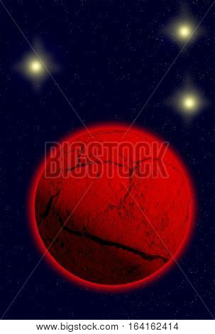 Red dead planet in deep space. Alien planet. Space scene