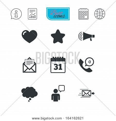 Mail, contact icons. Favorite, like and calendar signs. E-mail, chat message and phone call symbols. Report document, calendar and information web icons. Vector