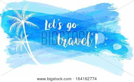 Travel Grunge Banner With Palm Trees