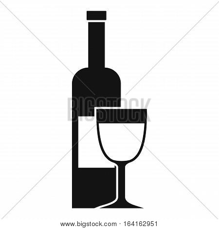 Wine bottle and glass icon. Simple illustration of wine bottle and glass vector icon for web