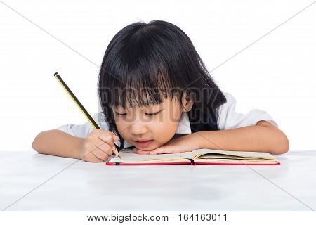 Boring Asian Chinese Little Girl Wearing School Uniform Studying