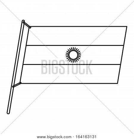 Argentina flag with flagpole icon. Outline illustration of Argentina flag with flagpole vector icon for web
