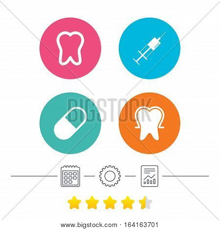 Tooth enamel protection icons. Medical syringe and pill signs. Medicine injection symbol. Calendar, cogwheel and report linear icons. Star vote ranking. Vector