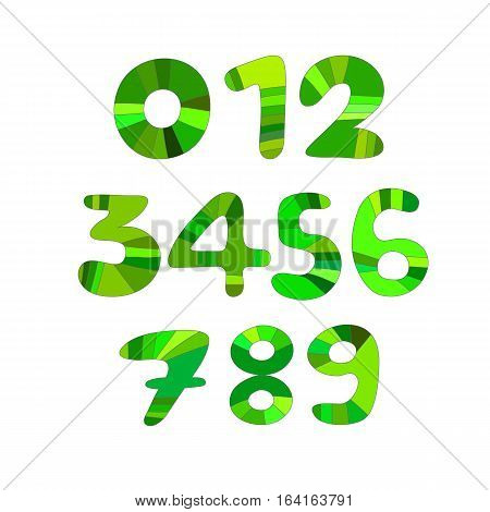 Set of vector numbers  green design idea
