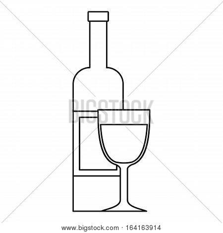 Glass of wine and a bottle icon. Outline illustration of glass of wine and a bottle vector icon for web