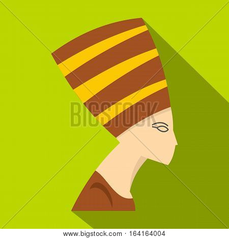 Nefertiti head icon. Flat illustration of Nefertiti head vector icon for web isolated on lime background