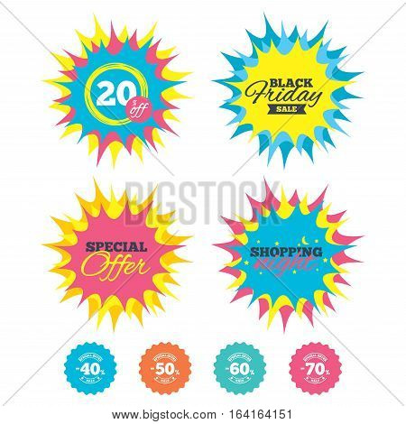 Shopping night, black friday stickers. Sale discount icons. Special offer stamp price signs. 40, 50, 60 and 70 percent off reduction symbols. Special offer. Vector