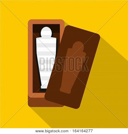 Sarcophagus of an Egyptian mummy icon. Flat illustration of sarcophagus of an Egyptian mummy vector icon for web isolated on yellow background