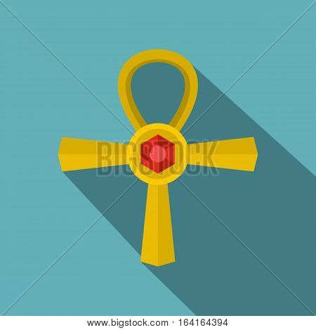 Golden Ankh symbol icon. Flat illustration of golden Ankh symbol vector icon for web isolated on baby blue background