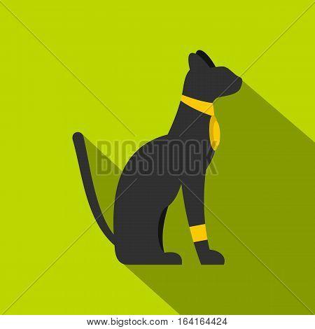 Black sitting Egyptian cat icon. Flat illustration of black sitting Egyptian cat vector icon for web isolated on lime background