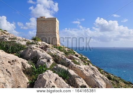 guarding tower on island Malta in Europe