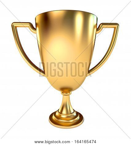 Gold Trophy Cup. Conceptual illustration. Isolated on white background. 3D illustration.