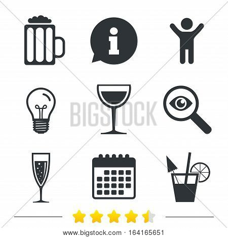 Alcoholic drinks icons. Champagne sparkling wine with bubbles and beer symbols. Wine glass and cocktail signs. Information, light bulb and calendar icons. Investigate magnifier. Vector