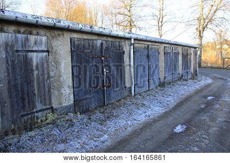 Old garages in annaberg in Saxony in germany