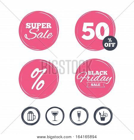 Super sale and black friday stickers. Alcoholic drinks icons. Champagne sparkling wine with bubbles and beer symbols. Wine glass and cocktail signs. Shopping labels. Vector