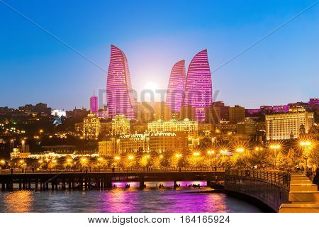 Baku Azerbaijan - September 22 2016: Sunset over the Flame Towers. Flame Towers are new skyscrapers in Baku. The Republic of Azerbaijan