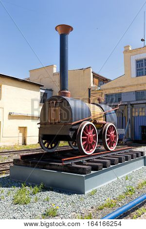Nizhny Tagil Russia - May 21 2016: Monument to the first steam locomotive in Russia