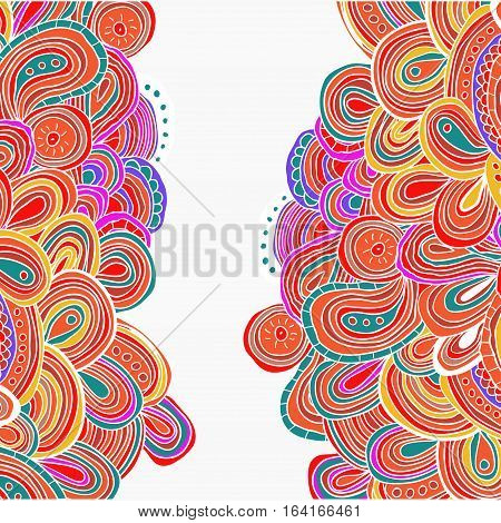 Side tracery card with bright hand drawn ornament. Cinco de mayo. Ethnic background.  Cinco de mayo