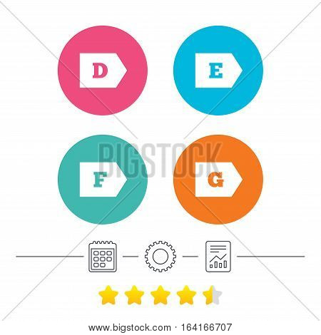 Energy efficiency class icons. Energy consumption sign symbols. Class D, E, F and G. Calendar, cogwheel and report linear icons. Star vote ranking. Vector