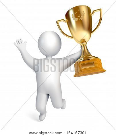 Funny white people holding a Golden Cup. Gold Trophy Cup. Conceptual illustration. Isolated on white background. 3D illustration. 3D rendering