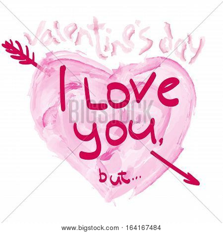 Stock Image heart with an arrow. Illustration of love, romantic theme, the picture for a poster, printed on a T-shirt or dress on Valentine's Day, Valentine's Day, a marriage proposal. Declaration of love.