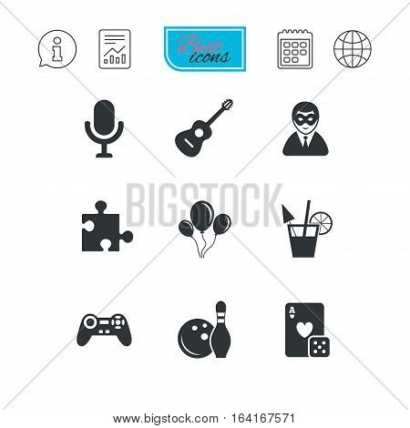 Game, bowling and puzzle icons. Entertainment signs. Casino, carnival and alcohol cocktail symbols. Report document, calendar and information web icons. Vector